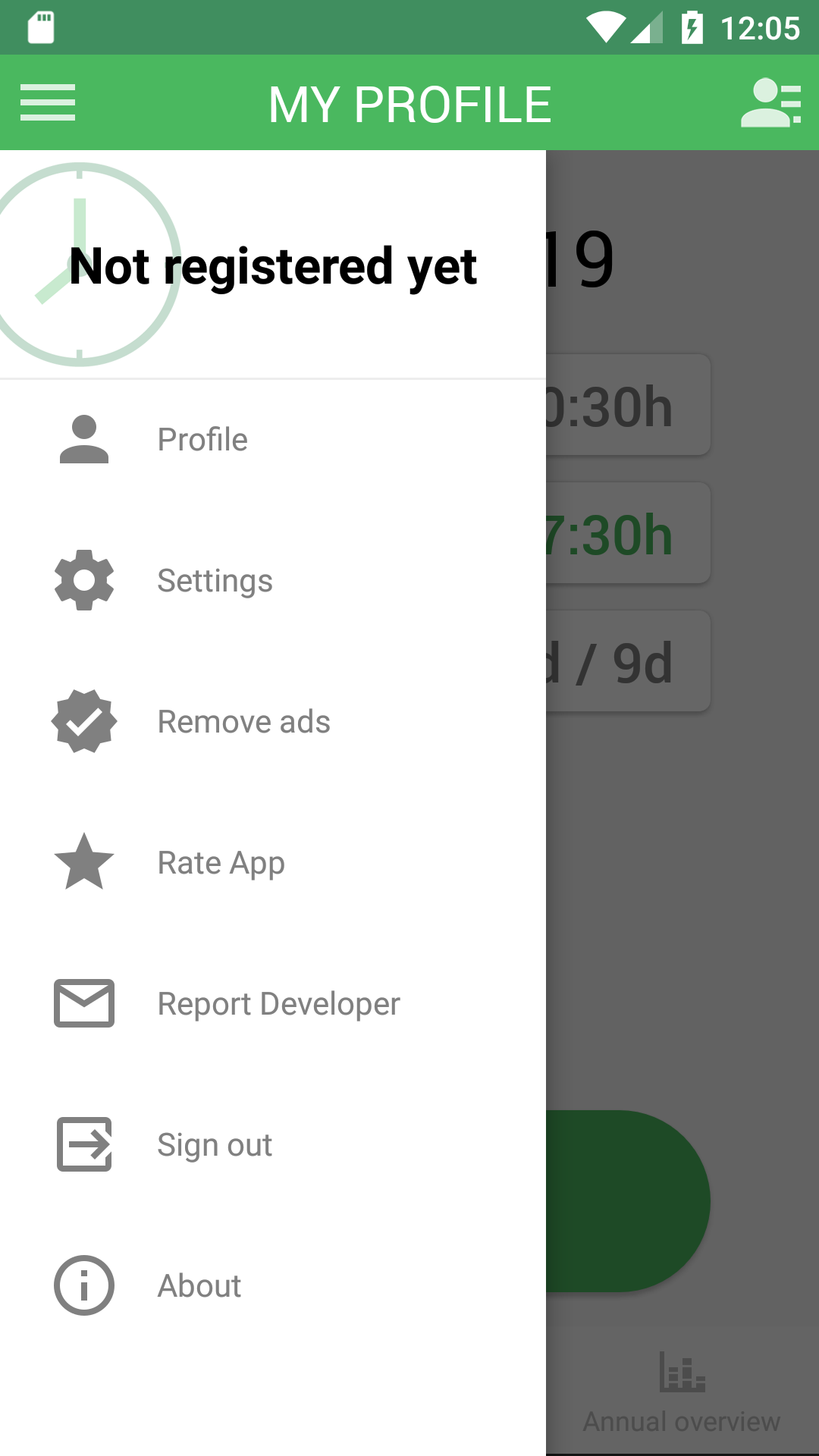 Working Timer app menu